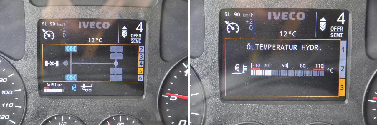 A központi kijelző látványos visszajelzést ad a HI-TRACTION működéséről, illetve az olaj hőmérsékletéről