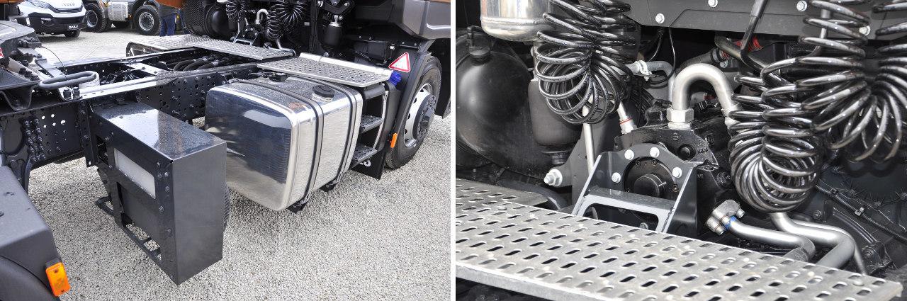 A HI-TRACTION hidraulikus elsőkerék-hajtás szivattyúját a sebességváltó felett, olajhűtőjét pedig az alváz jobb oldalán a tengelyek között helyezték el