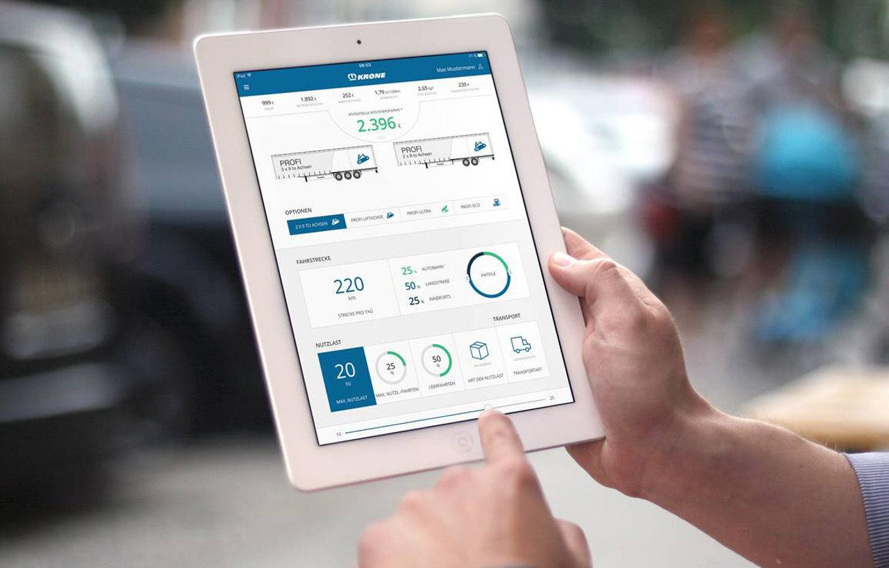 A Krone Trailer Efficiency App (TEApp) a Krone Trailer Evaluation Tool (TET) okostelefonos alkalmazása, amely segítségével kiértékelhető, hogy a különböző járműspecifikációk mennyire felelnek meg egy adott alkalmazási területre