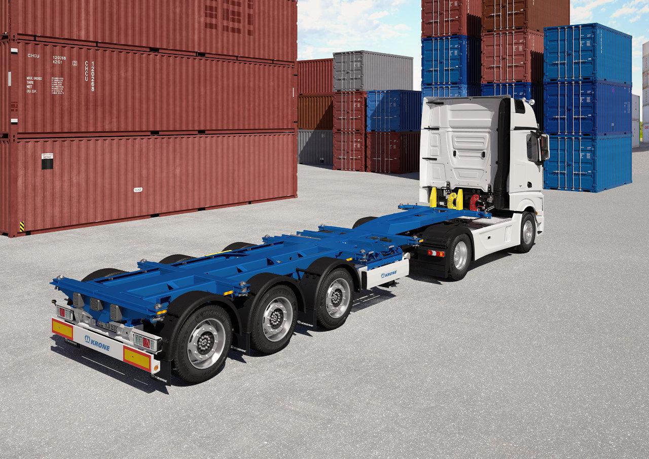 A 20–45 láb közötti konténerekhez rugalmasan alkalmazható új Krone Box Liner SDC 27 eLTU70 konténerszállító félpótkocsi 500–900 kilogrammal nagyobb hasznos teherbírást nyújt elődjénél