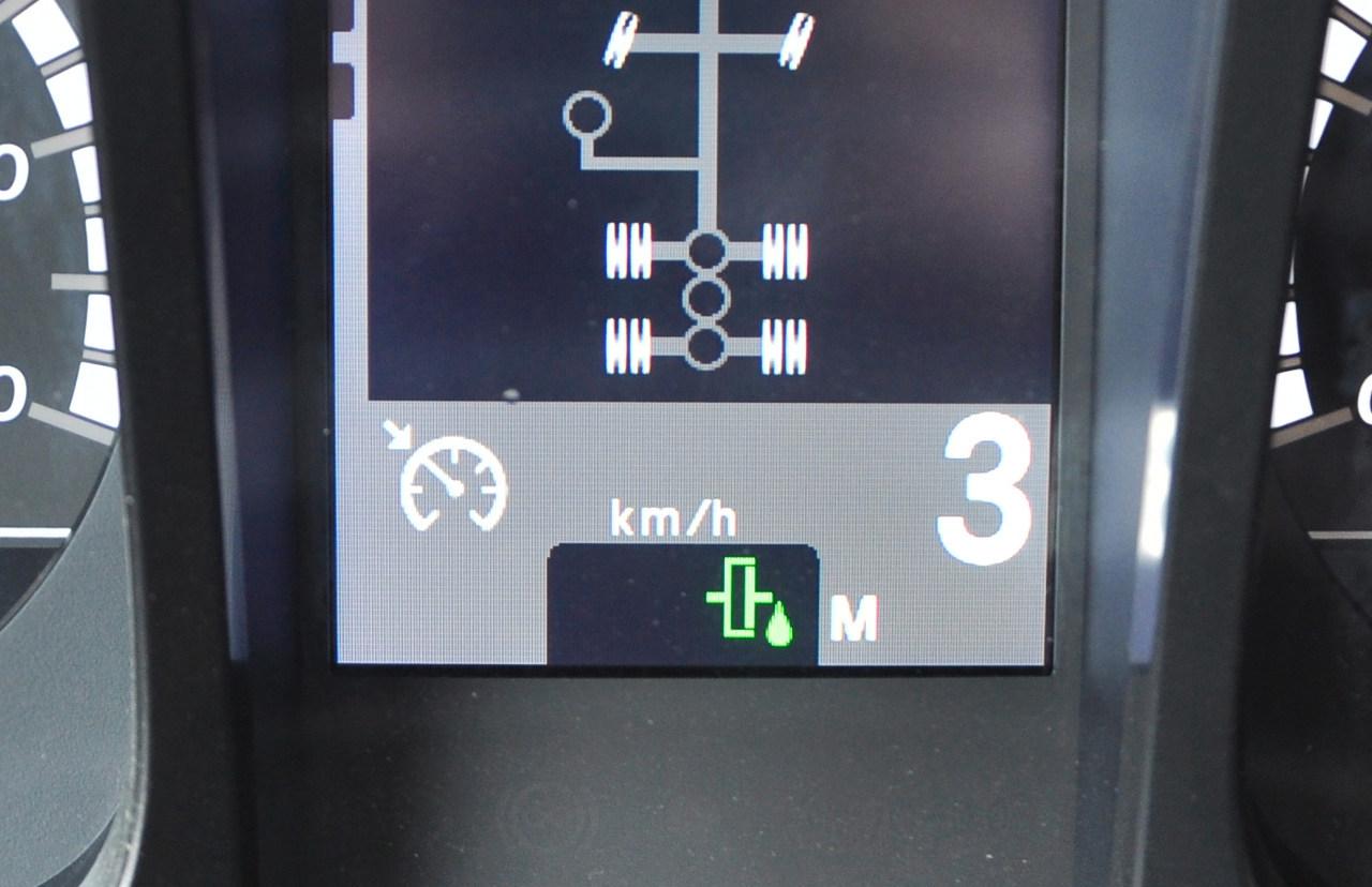 Ha a turbóretarder-tengelykapcsoló hidraulikus üzemmódban dolgozik, akkor a képen látható zöld piktogram jelenik meg a központi kijelzőn