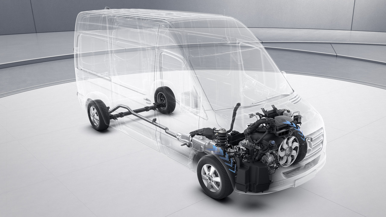 A harmadik generáció legnagyobb műszaki újítása: immár elsőkerék-hajtással is elérhető a Mercedes-Benz Sprinter