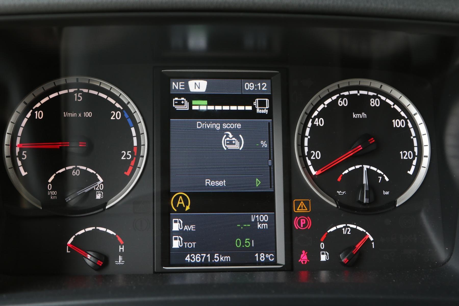 A Scania Járművezető-támogatás a dízel modellekkel ellentétben itt csak a regeneratív fékezést értékeli valós idejűleg, százalékos mutatószámmal